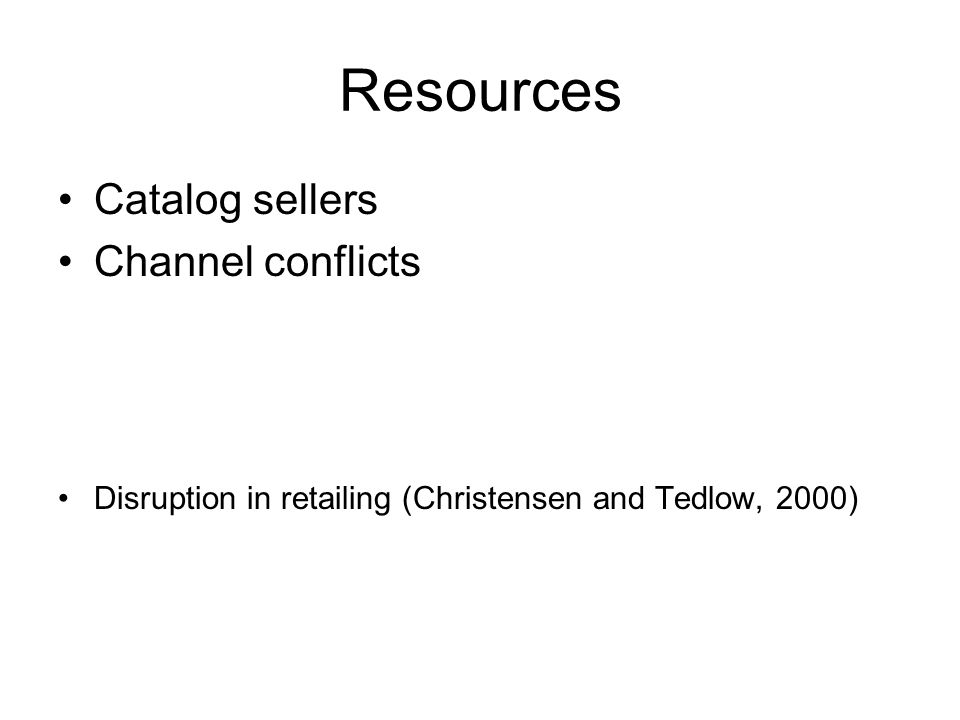 Resources Catalog sellers Channel conflicts