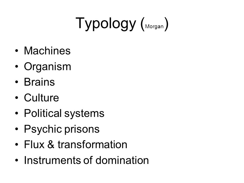 Typology (Morgan) Machines Organism Brains Culture Political systems