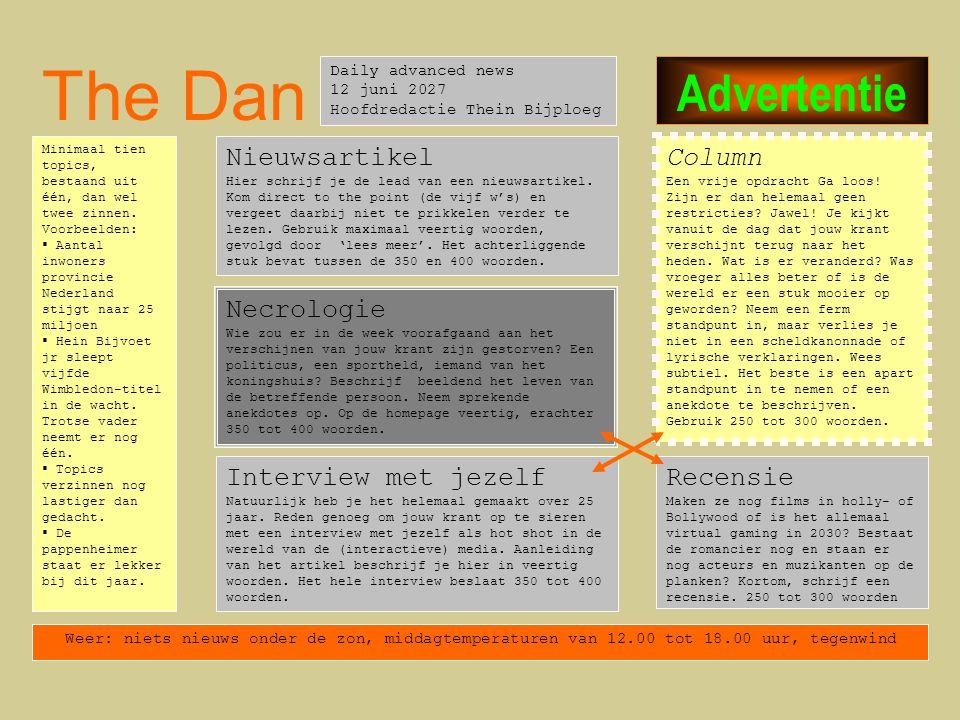 The Dan Advertentie Nieuwsartikel Column Necrologie