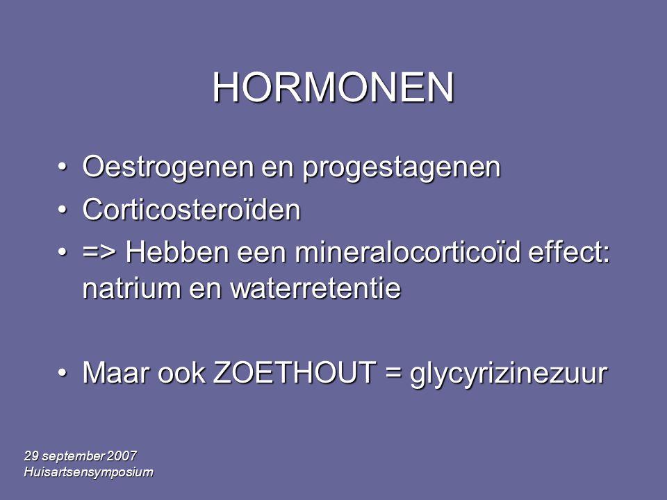 HORMONEN Oestrogenen en progestagenen Corticosteroïden