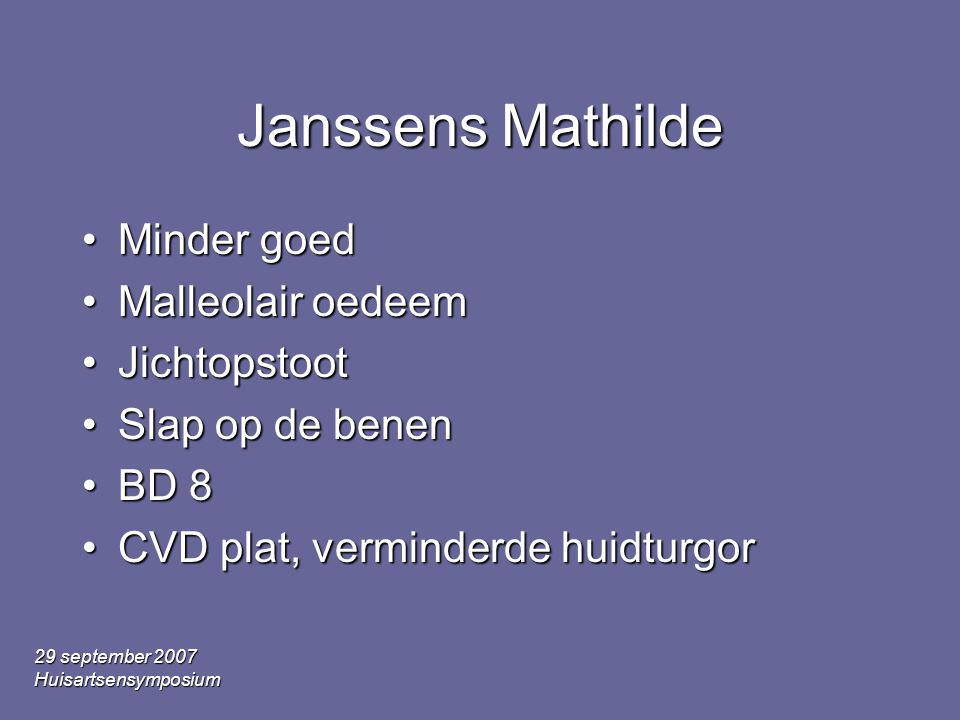 Janssens Mathilde Minder goed Malleolair oedeem Jichtopstoot