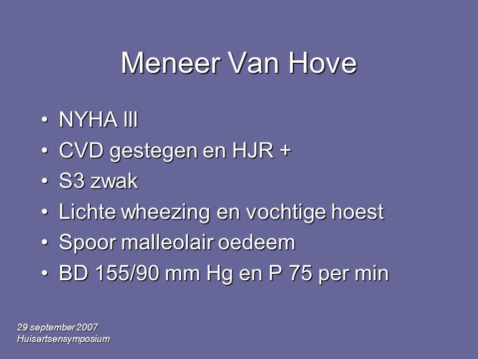 Meneer Van Hove NYHA lll CVD gestegen en HJR + S3 zwak