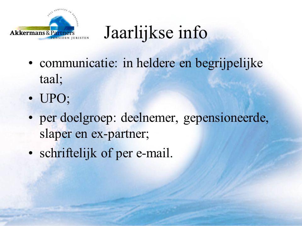 Jaarlijkse info communicatie: in heldere en begrijpelijke taal; UPO;