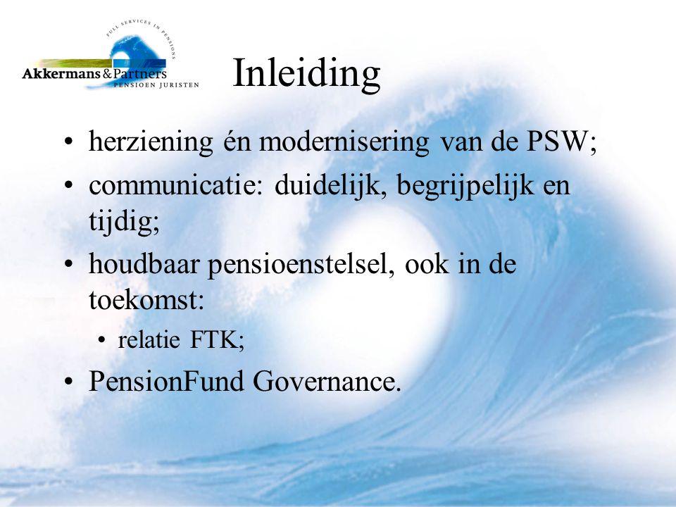 Inleiding herziening én modernisering van de PSW;