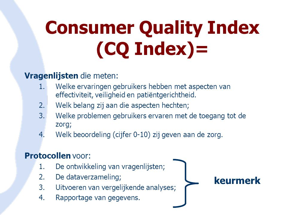 Consumer Quality Index (CQ Index)=