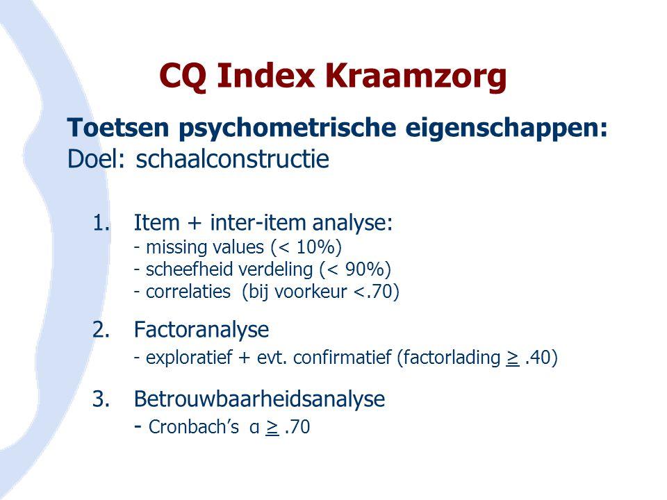 CQ Index Kraamzorg Toetsen psychometrische eigenschappen: