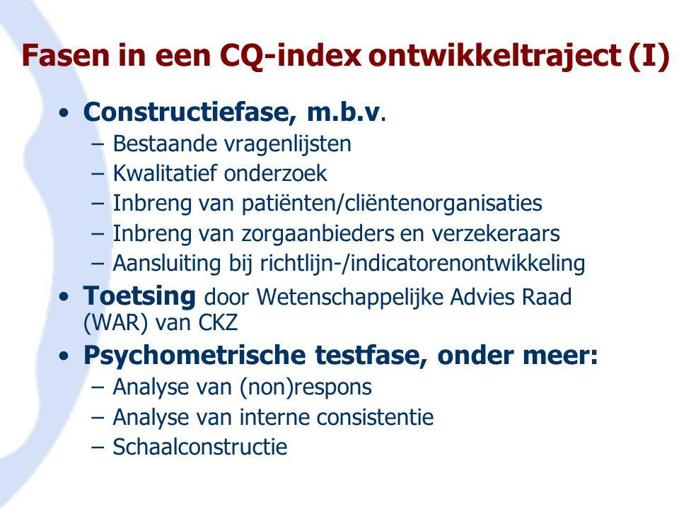 Fasen in een CQ-index ontwikkeltraject (I)