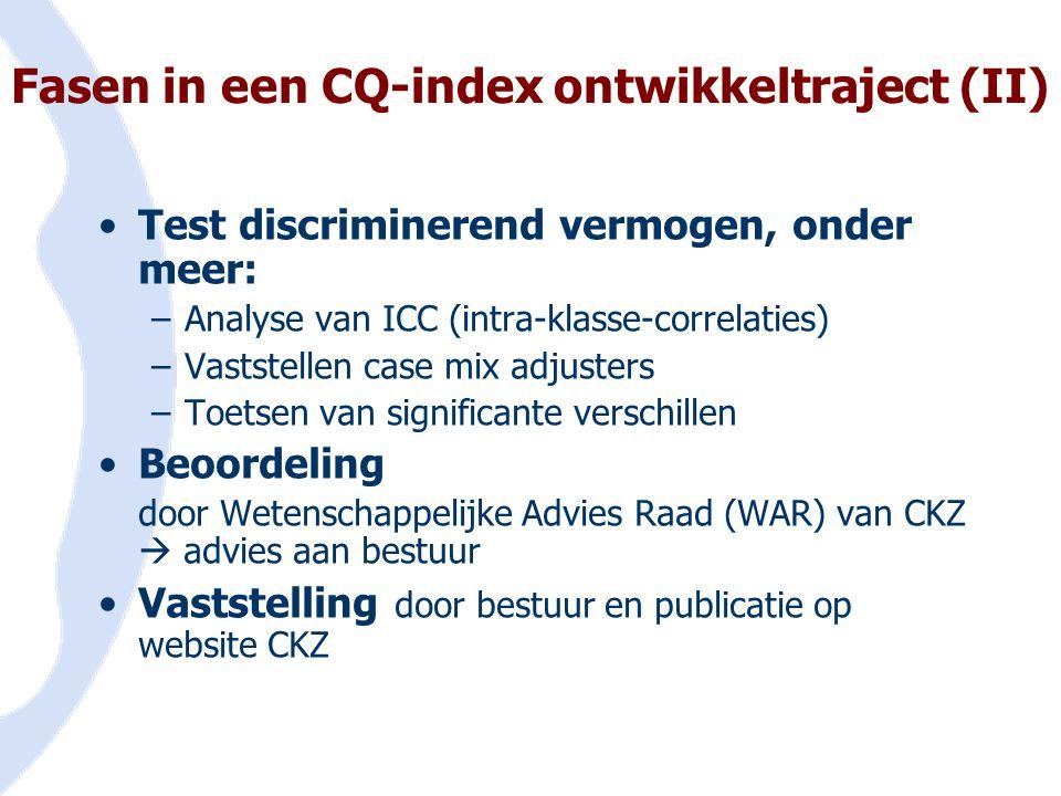Fasen in een CQ-index ontwikkeltraject (II)