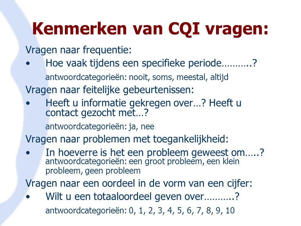 Kenmerken van CQI vragen: