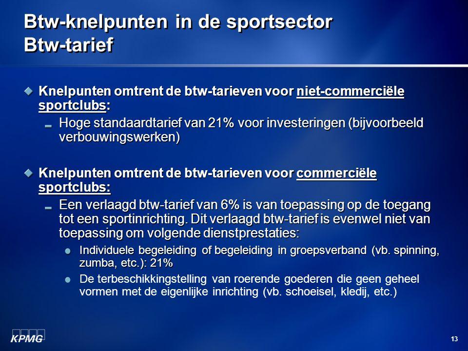 Btw-knelpunten in de sportsector Btw-tarief