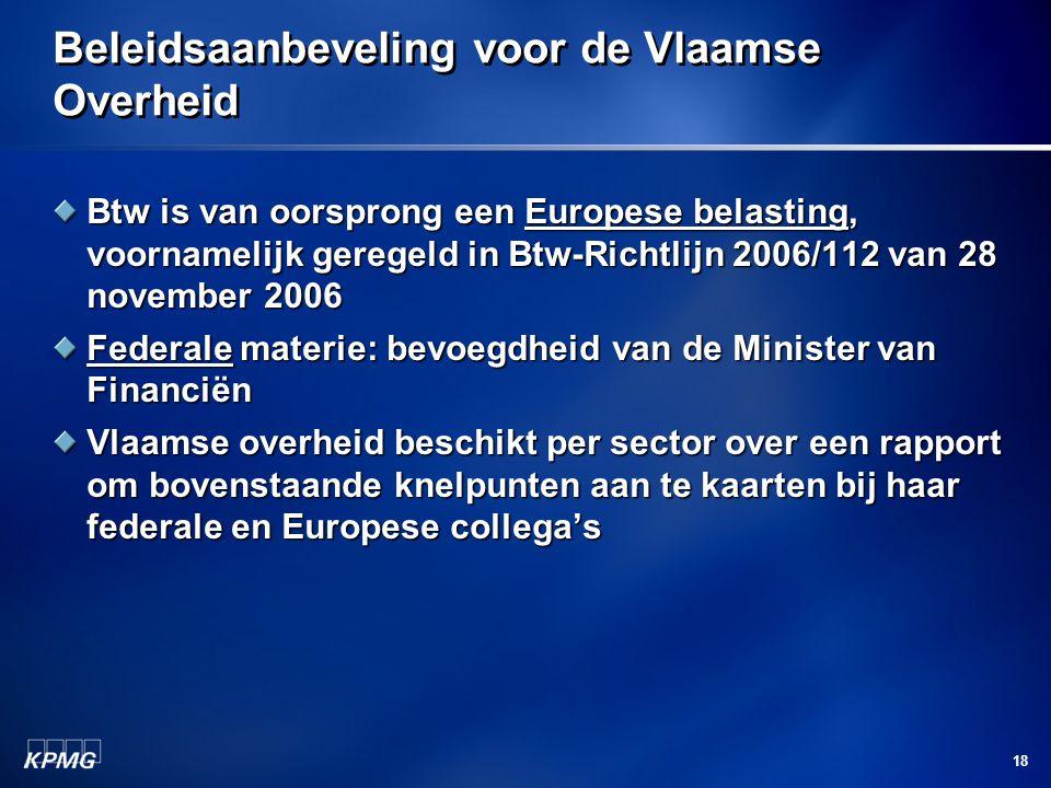 Beleidsaanbeveling voor de Vlaamse Overheid