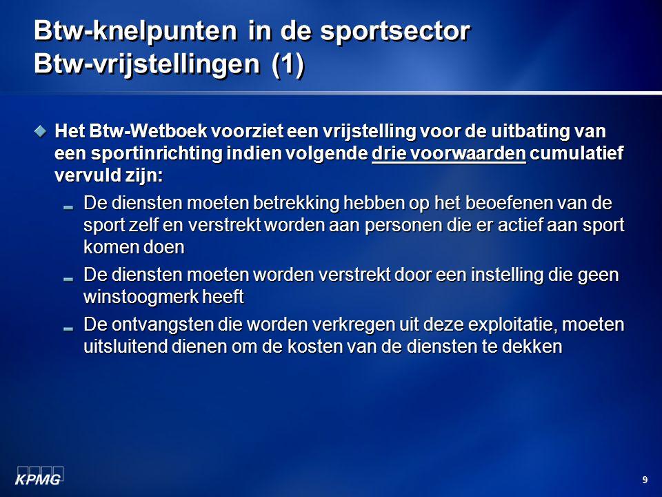 Btw-knelpunten in de sportsector Btw-vrijstellingen (1)