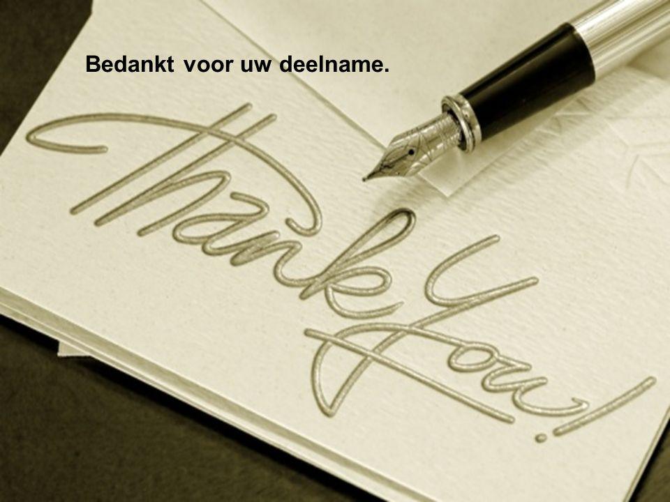 Bedankt voor uw deelname.
