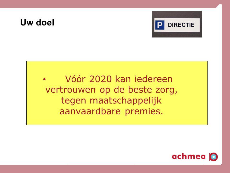 Uw doel Vóór 2020 kan iedereen vertrouwen op de beste zorg, tegen maatschappelijk aanvaardbare premies.