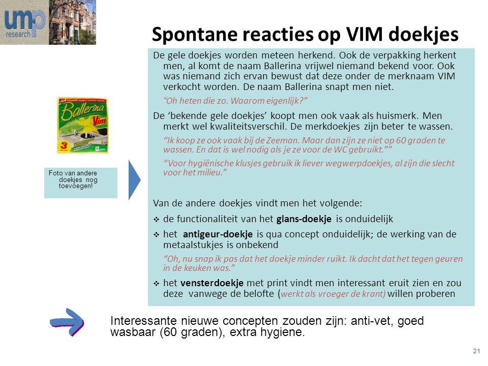 Spontane reacties op VIM doekjes