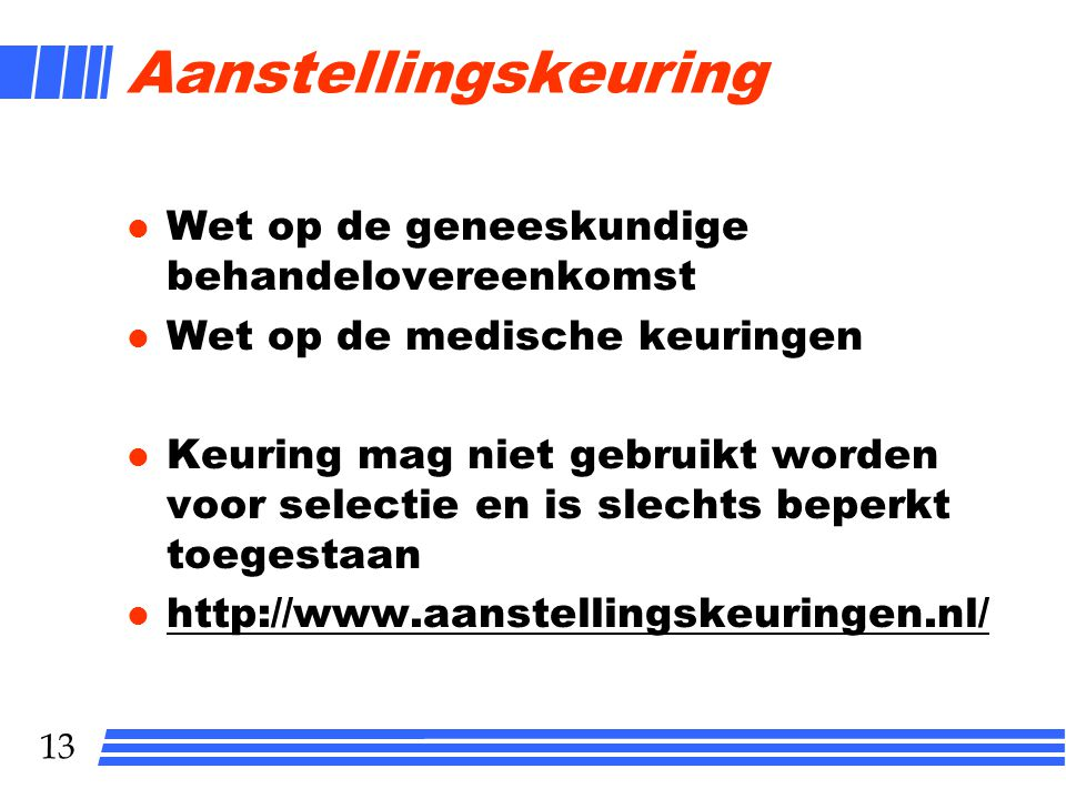 Aanstellingskeuring Wet op de geneeskundige behandelovereenkomst