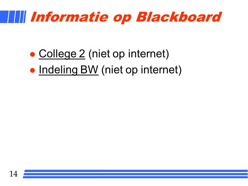 Informatie op Blackboard