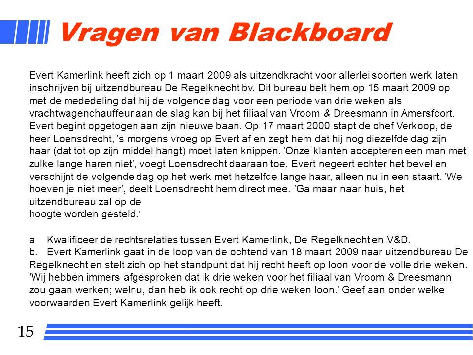 Vragen van Blackboard