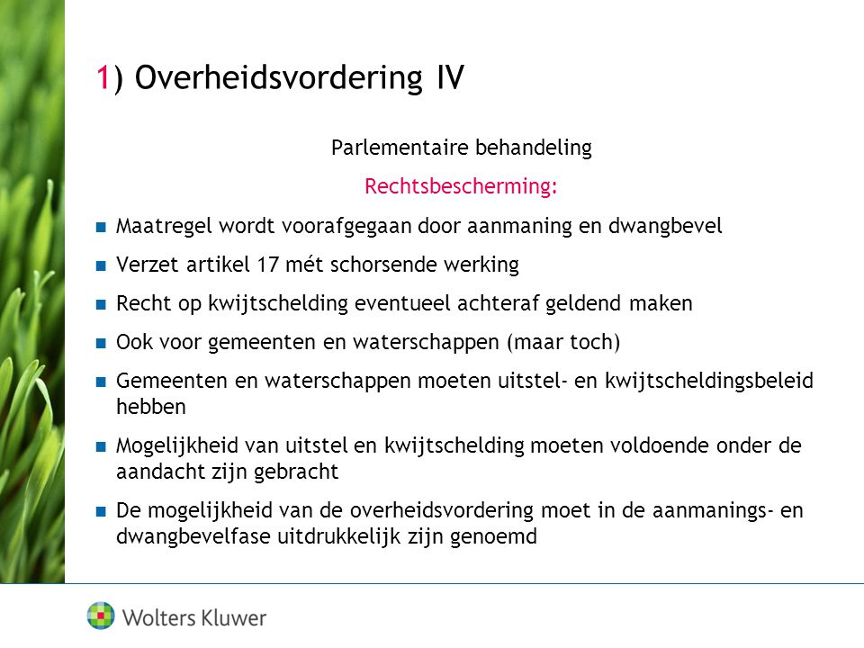 1) Overheidsvordering IV