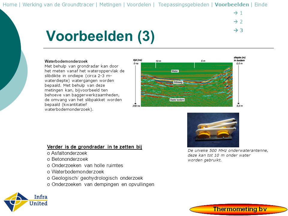 Voorbeelden (3) Verder is de grondradar in te zetten bij