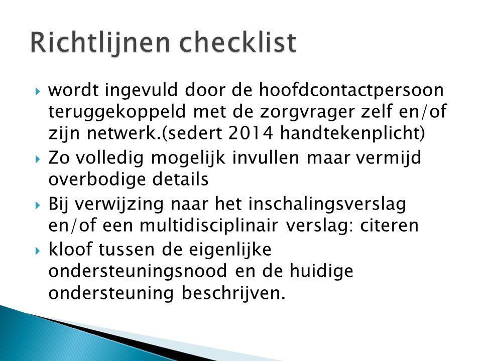 Richtlijnen checklist