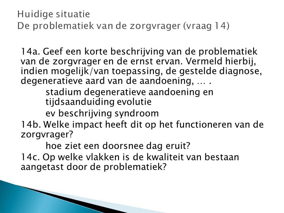 Huidige situatie De problematiek van de zorgvrager (vraag 14)