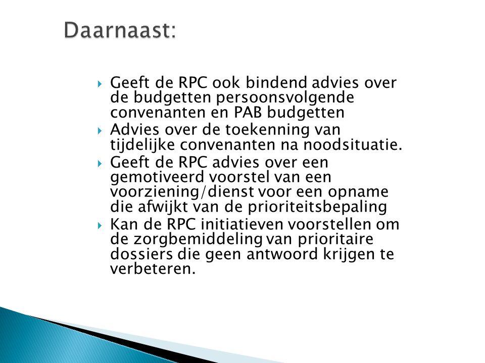 Daarnaast: Geeft de RPC ook bindend advies over de budgetten persoonsvolgende convenanten en PAB budgetten.