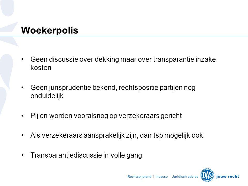 Woekerpolis Geen discussie over dekking maar over transparantie inzake kosten. Geen jurisprudentie bekend, rechtspositie partijen nog onduidelijk.