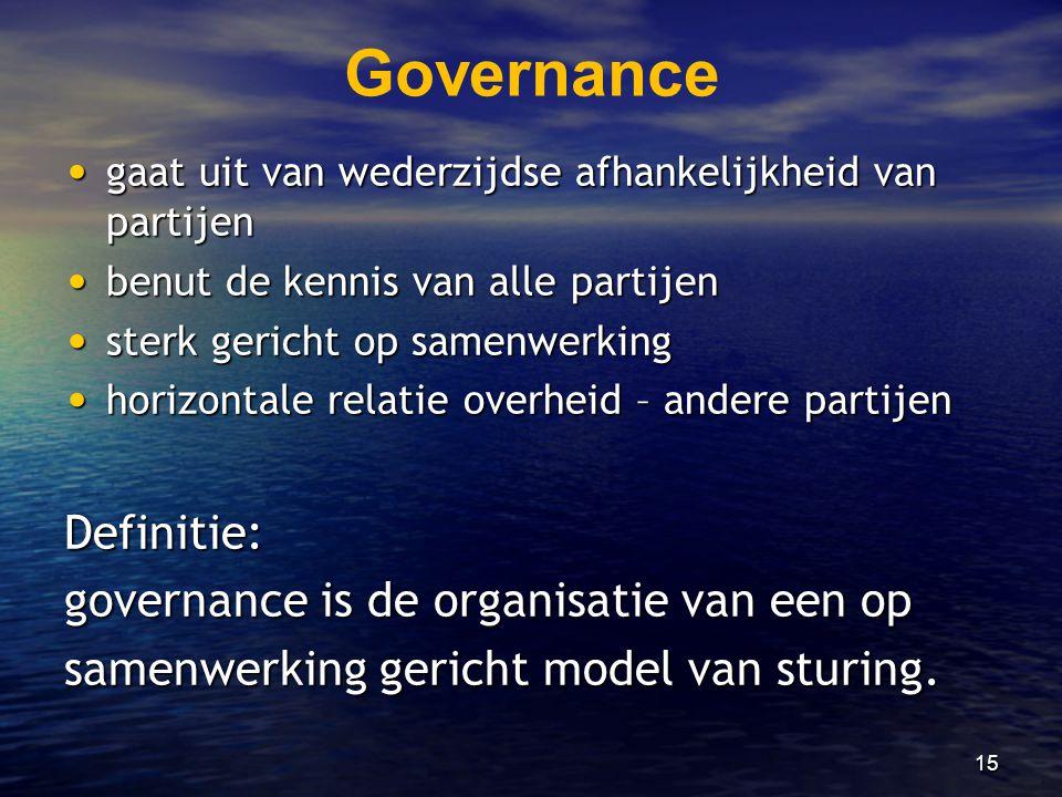 Governance Definitie: governance is de organisatie van een op
