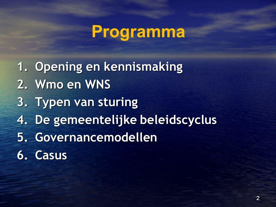 Programma 1. Opening en kennismaking 2. Wmo en WNS