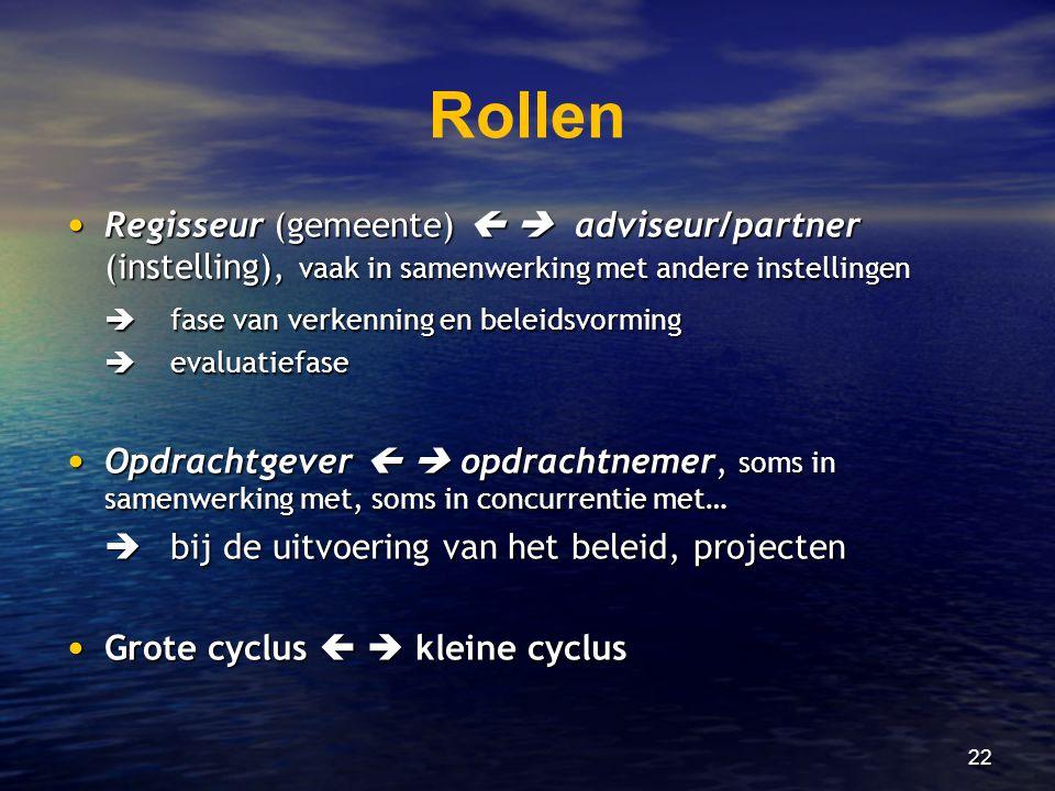 Rollen Regisseur (gemeente)   adviseur/partner (instelling), vaak in samenwerking met andere instellingen.