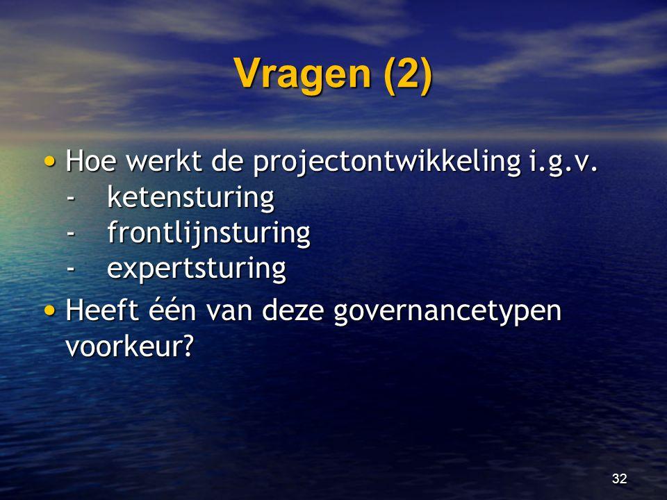 Vragen (2) Hoe werkt de projectontwikkeling i.g.v. - ketensturing - frontlijnsturing - expertsturing.