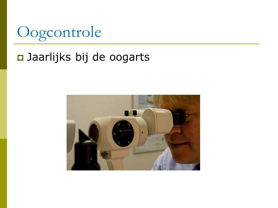 Oogcontrole Jaarlijks bij de oogarts