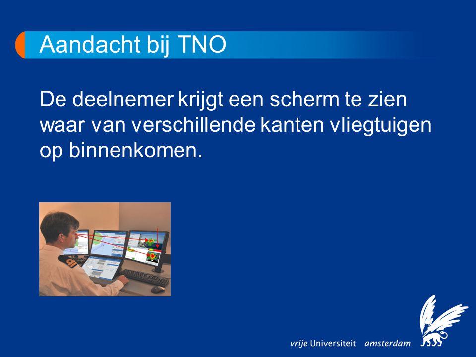 Aandacht bij TNO De deelnemer krijgt een scherm te zien waar van verschillende kanten vliegtuigen op binnenkomen.