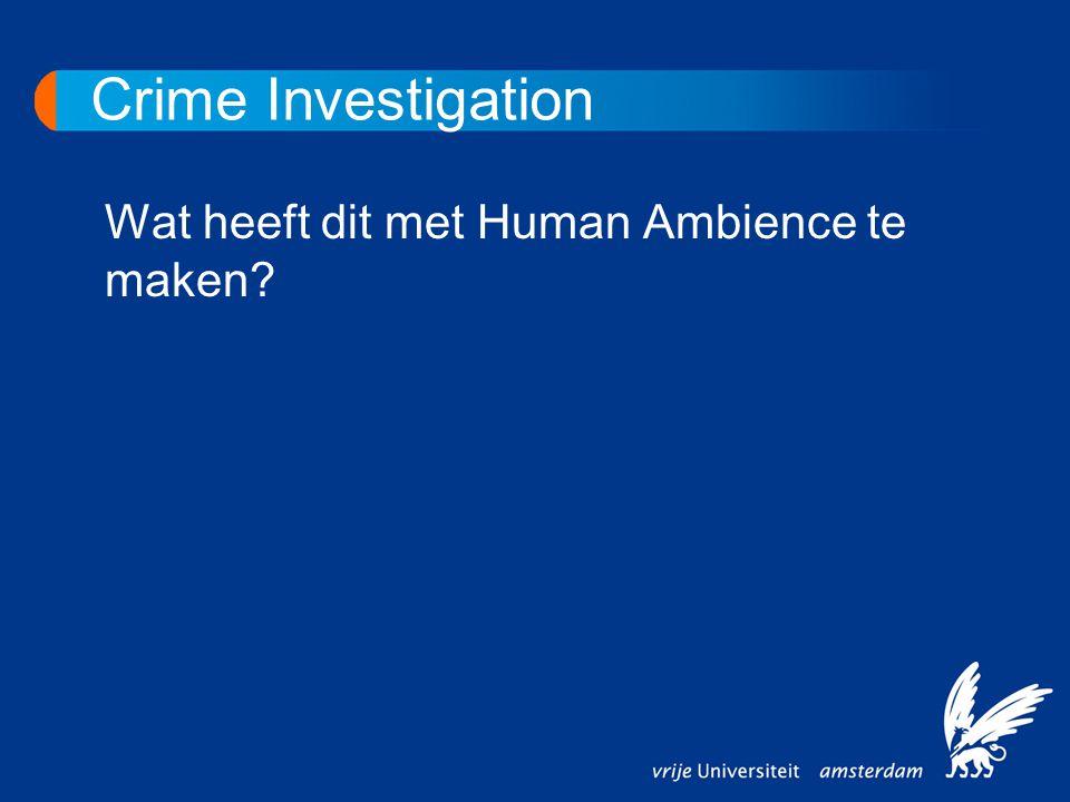 Crime Investigation Wat heeft dit met Human Ambience te maken