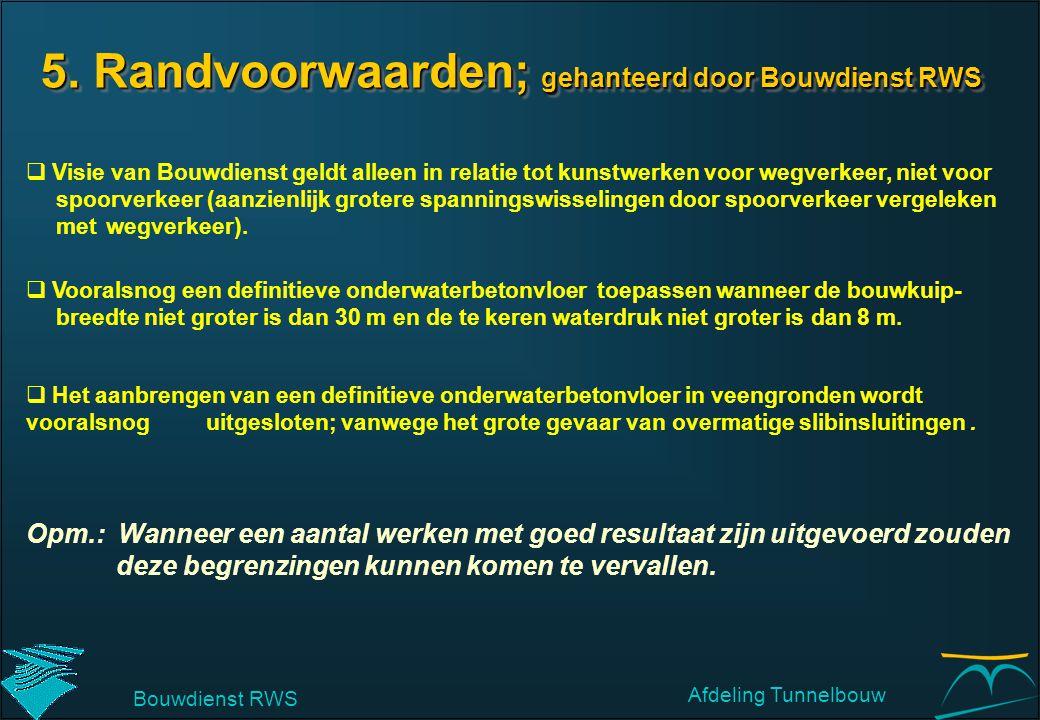 5. Randvoorwaarden; gehanteerd door Bouwdienst RWS