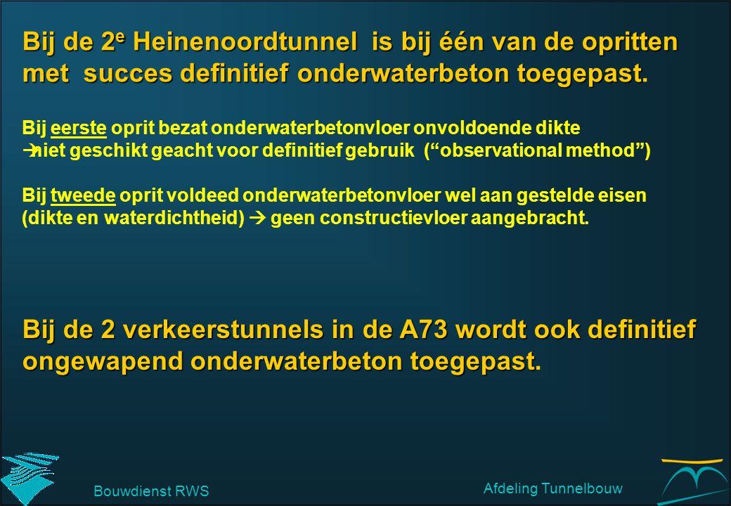 Bij de 2e Heinenoordtunnel is bij één van de opritten met succes definitief onderwaterbeton toegepast.