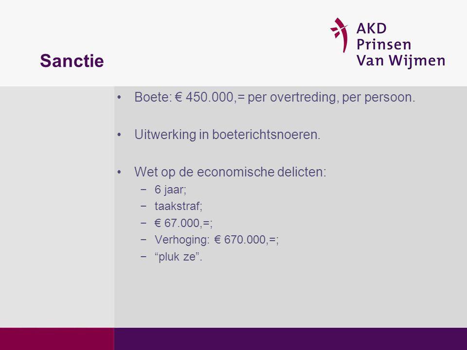 Sanctie Boete: € 450.000,= per overtreding, per persoon.