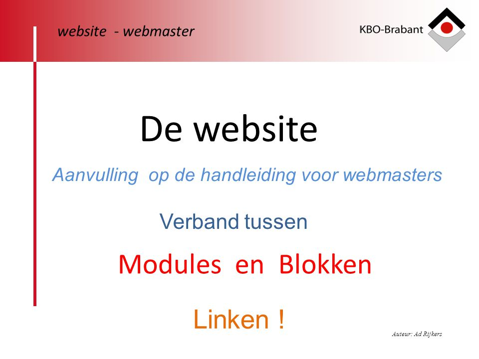 De website Modules en Blokken Linken ! Verband tussen