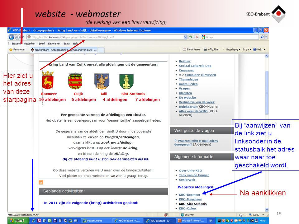 website - webmaster Na aanklikken