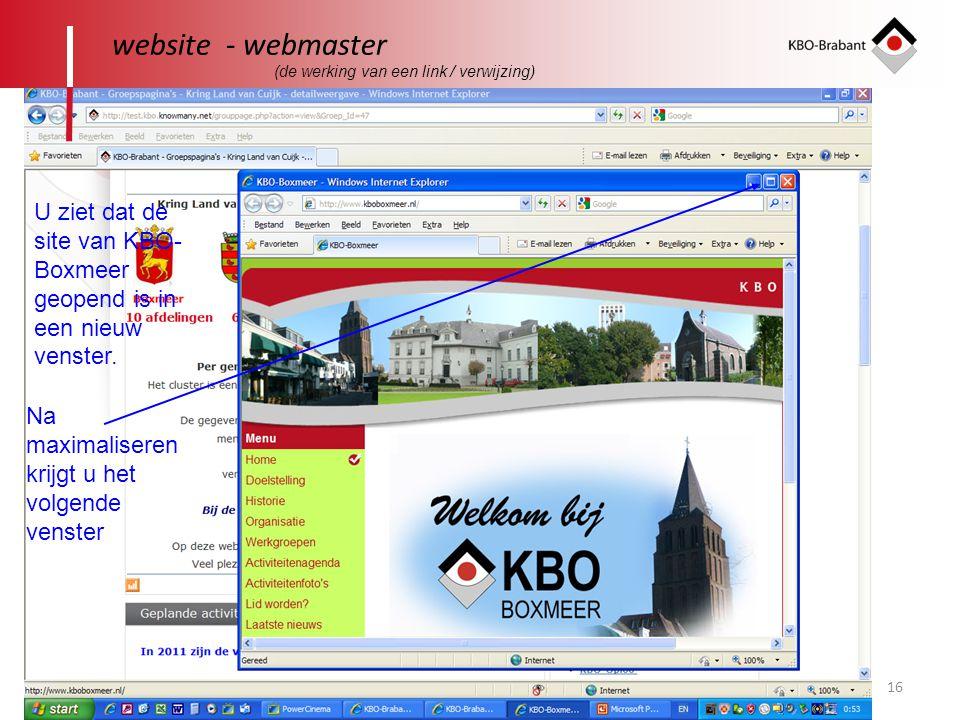 website - webmaster (de werking van een link / verwijzing) U ziet dat de site van KBO-Boxmeer geopend is in een nieuw venster.