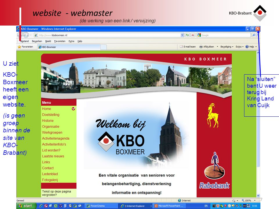 website - webmaster U ziet KBO-Boxmeer heeft een eigen website.