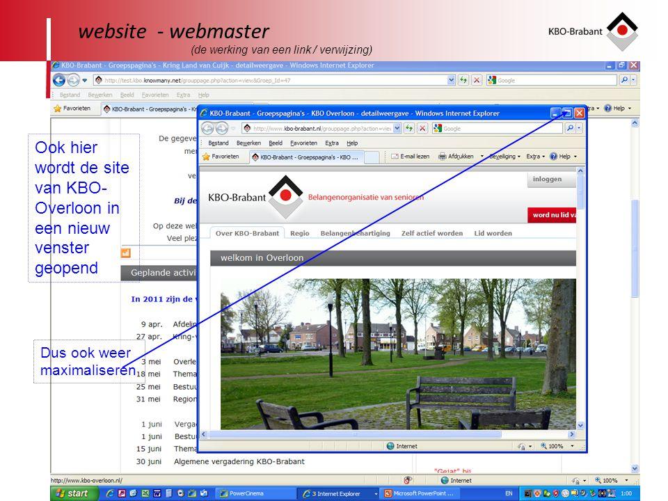 website - webmaster (de werking van een link / verwijzing) Ook hier wordt de site van KBO-Overloon in een nieuw venster geopend.