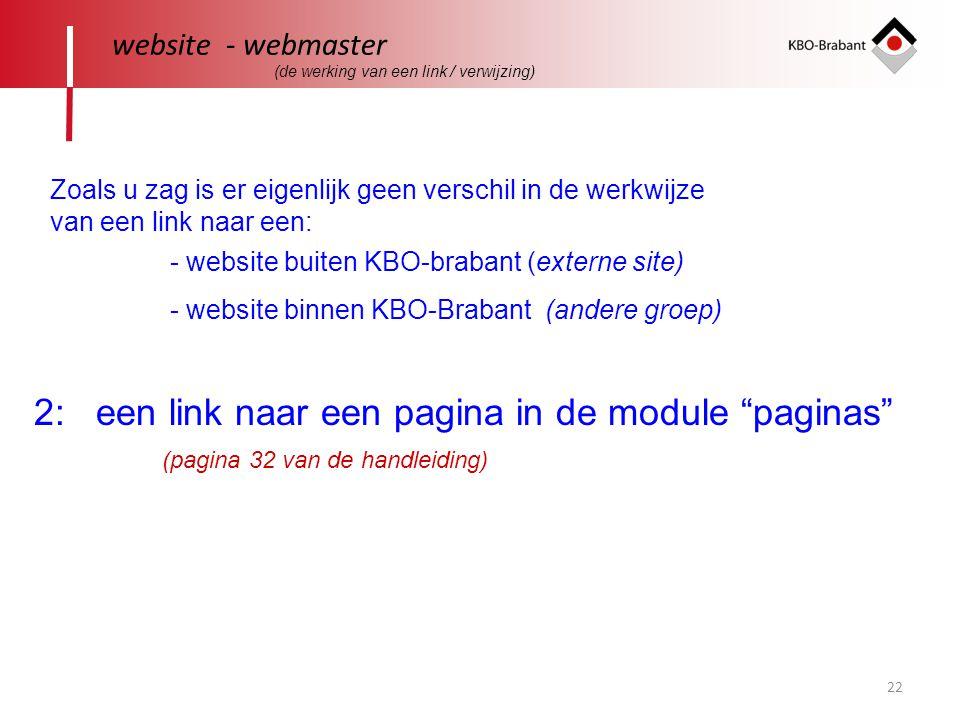 2: een link naar een pagina in de module paginas