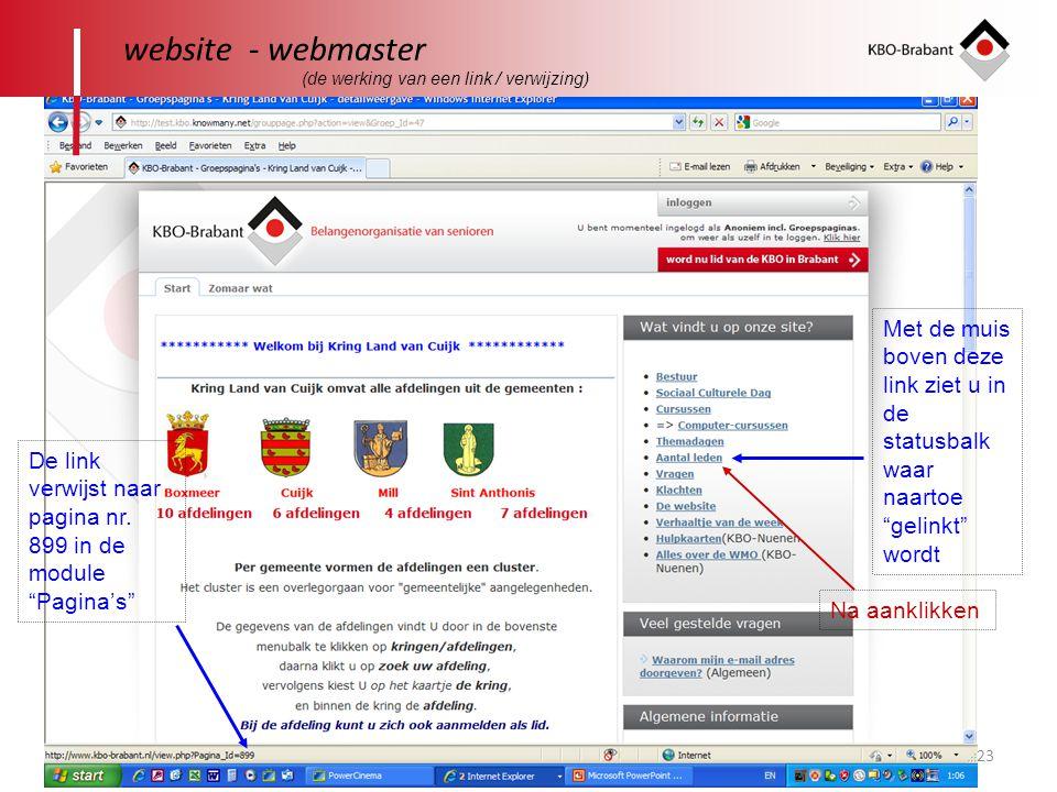 website - webmaster (de werking van een link / verwijzing) Met de muis boven deze link ziet u in de statusbalk waar naartoe gelinkt wordt.
