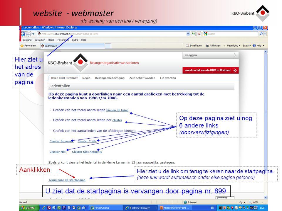 website - webmaster (de werking van een link / verwijzing) Hier ziet u het adres van de pagina.