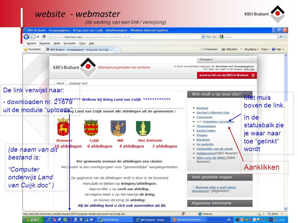 website - webmaster Aanklikken De link verwijst naar: