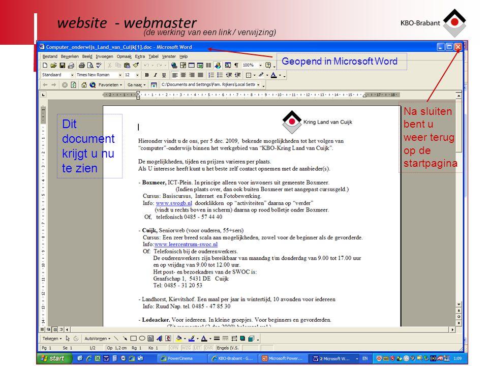 website - webmaster Dit document krijgt u nu te zien