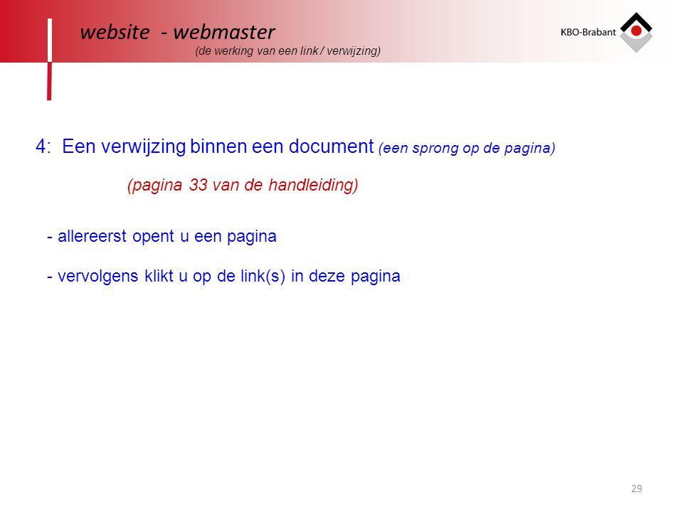 website - webmaster (de werking van een link / verwijzing) 4: Een verwijzing binnen een document (een sprong op de pagina)