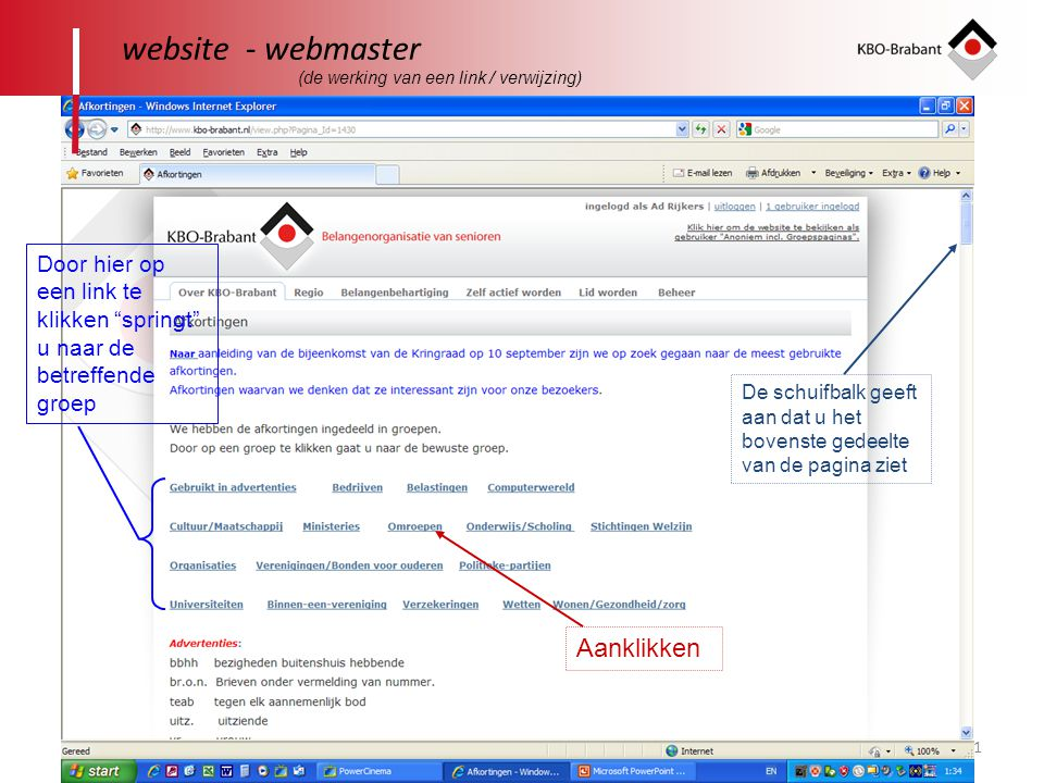 website - webmaster Aanklikken